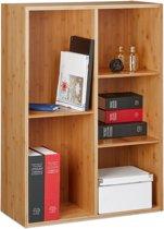 relaxdays - boekenkast bamboe - wandrek - boekenrek - opbergrek cd/dvd rek hout