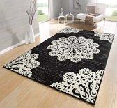 Modern vloerkleed Lace - zwart/crème 120x170 cm