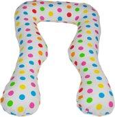 Zwangerschapskussen - Voedingskussen - 100% katoen - 300 cm - wit met kleurrijk stipjespatroon
