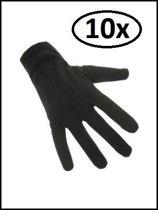 10x Handschoenen katoen kort zwart luxe (Piet) mt.XL