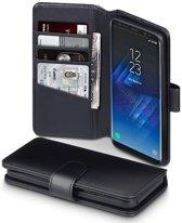 Hoesje voor Samsung Galaxy S8, echt lederen 3-in-1 bookcase, zwart