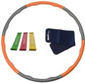 Hoelahoep 1.5 kg + Waist trimmer + Mini bands Oranje/grijs
