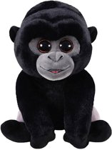 Ty Beanie Boo Bo pluche zwarte gorilla knuffel 15 cm - Gorillas apen jungledieren knuffels - Speelgoed voor kinderen
