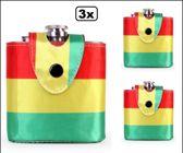 3x Drinkflesje rood/geel/groen
