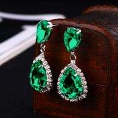 Victoria - Groenkleurige Oorbellen - Oostenrijkse Bergkristallen - Nieuw Design