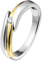 The Jewelry Collection Ring Zirkonia - Goud Met Zilver