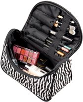 Hip Make Up Tasje / Etui / Organizer / Opberger / Koffer - Zebra Print - Dames Organiser Make Up / Cosmetica Reis Tas / Opberg Box / Opbergsysteem / Houder -  Beauty Case Meisje Met Spiegel / Voor Kwasten / Eyeliner / Lippenstift / Concealer / Creme