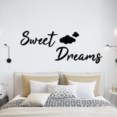 Muursticker Sweet Dreams Met Wolkjes -  Groen -  80 x 31 cm  - Muursticker4Sale