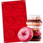 KitchenBrothers Siliconen Donutvorm – Donut Bakvorm Bakblik – Siliconen Mal – Rood