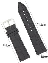 Horlogeband Leer 18mm - Croco Band + Push Pin - Zwart - Sarzor