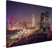 Kleurrijke lucht boven Beijing Canvas 120x80 cm - Foto print op Canvas schilderij (Wanddecoratie woonkamer / slaapkamer)