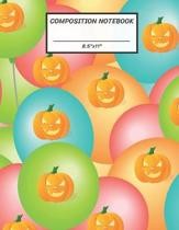 Composition Notebook: Balloon Halloween Pumpkin Jack O Lantern, Wide Ruled paper Notebook, Notes Taking, Basic Lines Journal,8.5''x11'',100 Pa