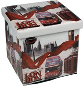 Poef / Opbergbox London Opvouwbaar (38 x 38 x 38 cm)