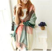 extra lange/ zacht gekleurde sjaal cashmere look (roze groen wit)