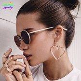 Fashionidea – mooie goudkleurige oorbellen set met hartjes