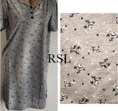 Dames nachthemd korte mouw grijs/zwart L