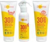 Derma Sun - 3 stuks - Baby zonnebrandlotion - Kids zonnebrand lotion - Kids zonnebrand spray  SPF 30 - eco - voordeelverpakking
