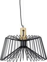 relaxdays design hanglamp metaal hout, plafondlamp, 1 lichts, draadlamp lamp zwart