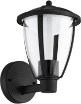 EGLO Comunero - Buitenverlichting - IP44 - Wandlamp - 1 Lichts - Zwart, Zilver - Helder, Wit