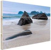 Zandstrand Hout 80x60 cm - Foto print op Hout (Wanddecoratie) / Zee en Strand
