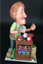 Coffee - shop - houder – wiet - beeldje – polyresin – beroepen – funny jobs – warren stratford – 14x8x26cm