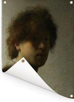 Zelfportret van Rembrandt - Schilderij van Rembrandt van Rijn Tuinposter 120x160 cm - Tuindoek / Buitencanvas / Schilderijen voor buiten (tuin decoratie) XXL / Groot formaat!