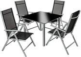 TecTake tuinset - zwart/lichtgrijs - 4 stoelen en 1 tafel