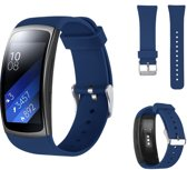Siliconen Horloge Band Voor Samsung Gear Fit 2 Pro Armband / Polsband / Strap Bandje / Sportband - Marine Blauw