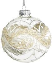 Goodwill Kerstbal Glas-Kant Goud-Wit H 8 cm Voordeelaanbod van 2 stuks