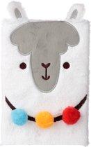 Fluffy notitieboek lama met pompon en oortjes