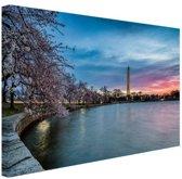 Washington monument bij zonsopkomst Canvas 120x80 cm - Foto print op Canvas schilderij (Wanddecoratie)
