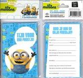 12 Uitnodigingskaartjes met envelop - Minions lichtblauw - 9 x 13.5 cm