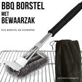BBQ Borstel met Schraper - Schoonmaakborstel - Barbecue Krabber met Handige Bewaarzak 2 in 1