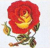 Thea Gouverneur Borduurpakket 818 Roos geel-rood - Linnen stof