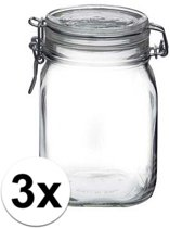 3x stuks Glazen weckpotten/inmaakpotten 1 Liter