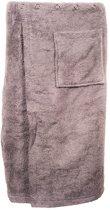 Sauna omslagdoek voor heren - heren saunakilt - sauna handdoek met sluiting - sauna kilt - saunadoek met sluiting - grijs - met drukknopen - maat S/M - 150x65cm