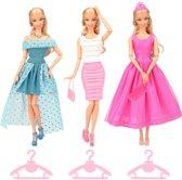 3x kleding en accessoires voor modepoppen met jurken, sieraden en schoenen - past op barbie