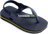 Havaianas Baby Brasil Logo Unisex Slippers - Navy Blue/Citric Yellow - Maat 25/26
