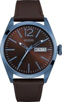 GUESS Watches W0658G8 Vertigo - Horloge - Leer - Bruin - Ø 45 mm