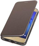 BestCases.nl Grijs Premium Folio leder look booktype smartphone hoesje voor Huawei P8 Lite 2017