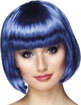 8 stuks: Pruik Cabaret - blauw
