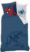 Spider-Man Silhouette - Dekbedovertrek - Eenpersoons - 140 x 200 cm - Blauw