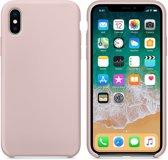 Luxe siliconen hoesje - zand roze - voor Apple iPhone X en iPhone XS - suède binnenkant