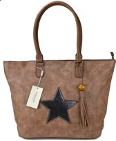 David Jones STER Schoudertas Handtas Shopper Trendy Ruime Tas Bruin