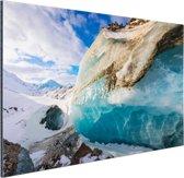 Foto van blauw transparant gletsjerijs Aluminium 60x40 cm - Foto print op Aluminium (metaal wanddecoratie)