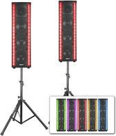 Vonyx LM80 actieve LightMotion speakerset met LED lichteffect incl. statieven en kabel - 1200W