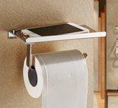 Toiletrolhouder met planchet - RVS - Zilver - Telefoonhouder -  Plankje