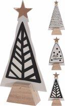 Kerstboom van porselein op houten voet | 30 cm | set van 3 stuks