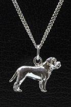 Zilveren Bull mastiff ketting hanger - groot