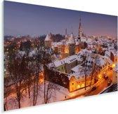 In het Stadshart van Tallinn ligt er sneeuw op de daken in de winter Plexiglas 180x120 cm - Foto print op Glas (Plexiglas wanddecoratie) XXL / Groot formaat!
